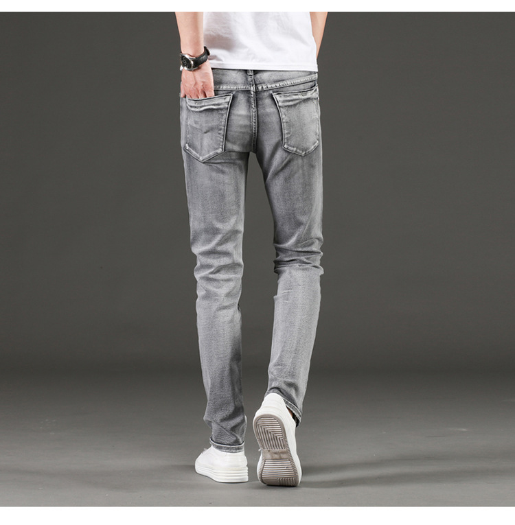 KSTUN Jeans Men Gray Stretch Slim Fit Vintage Spring and Autumn High Quality Yong Boys Denim Pants Men's Clothing 2019 Trendy 17