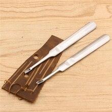 2 piezas DIY de mano de cuero cosido U + V en forma de Groover Skiving Edge Beveler Kit de herramientas de cuero artesanal kit DE FABRICACIÓN couro Dropship