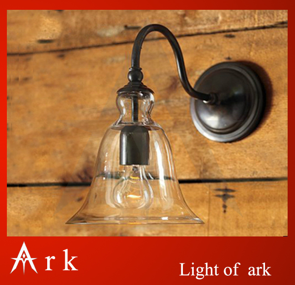 ARK LIGHT FREE SHIPPING Vintage outdoor indoor wall lamp light american iron clear bell glass lamps coffee house dining room bar 4 glass small clear ball paraffin oil lamp indoor outdoor