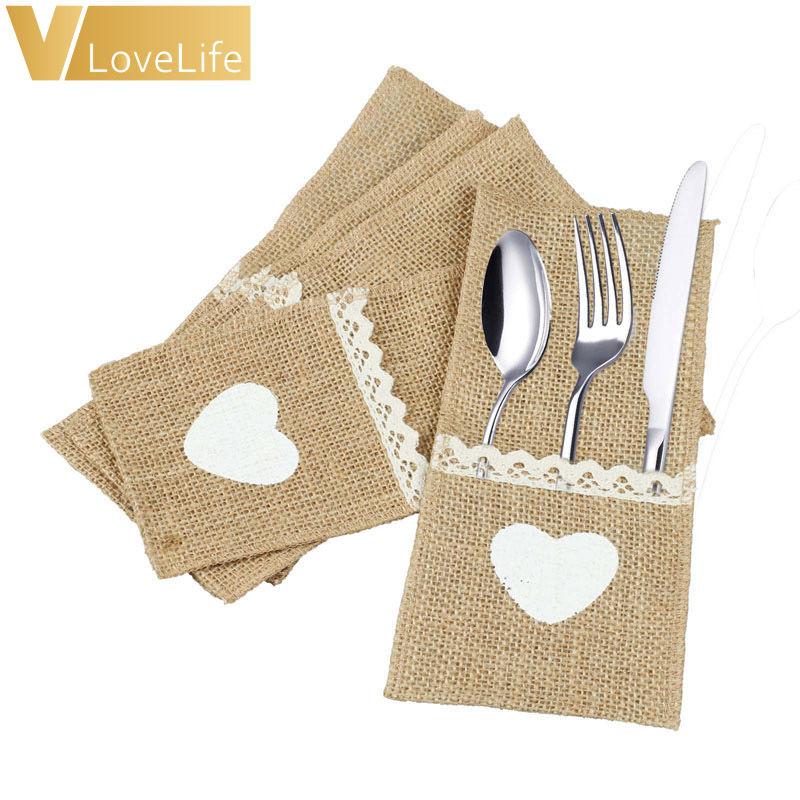 100pcs Jute Hessian Tableware Pouch Pocket Love Cutlery Knife Fork Holder for Rustic Wedding Party Decoration