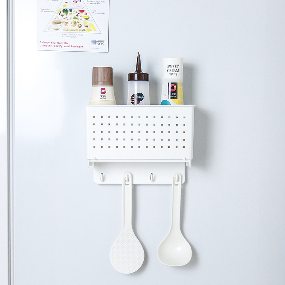 Kitchen wall hanging rack with magnet stone refrigerator plastic shelf side wall hook storage basket wx7172002