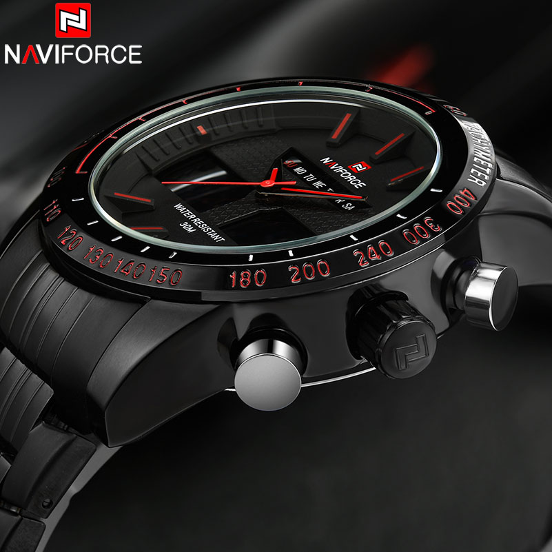 Watches men NAVIFORCE 9024 luxury brand Full Steel Quartz Clock Digital LED Watch Army Military Sport watch relogio masculino пуско зарядное устройство cobra jumpack xl
