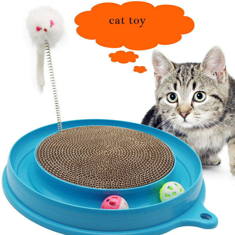 Turbo Scratcher Cat Toy Colors may vary Double Sided Cat Cartoon Board with Sherpa Ball Toy Kitten Mat Pad Interactive Toy for P