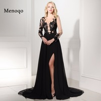 Real Photos Cheap African Black Long Sleeve Prom Dresses 2016 Scoop Neck With High Slit Chiffon