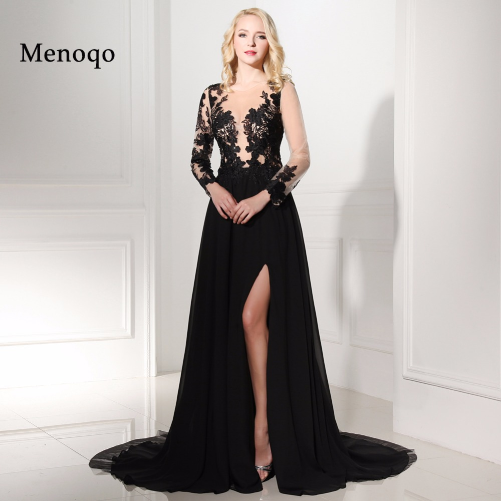 Real Photos Cheap African Black Long Sleeve   Evening     Dresses   2019 scoop neck with High Slit chiffon Formal   Dresses   robe de soiree