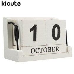 Kicute винтажный Средиземноморский стиль, дерево вечный календарь самодельный календарь искусство ремесла для дома, офиса, школы украшение ст...