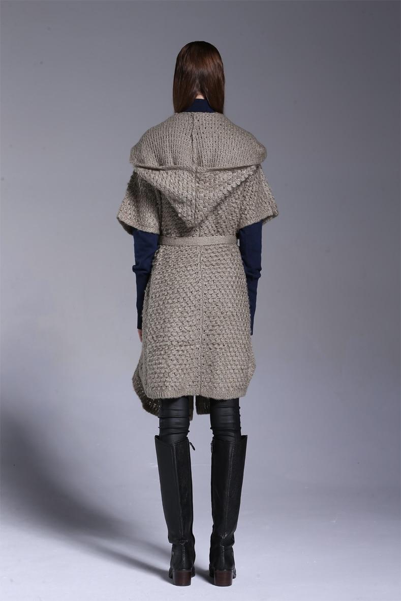 Cardigan Top Courtes Femmes Tricot l À Mélange Manches Mohair Chandail Long Capuchon De Laine M Mode Manteau vrqFwvB
