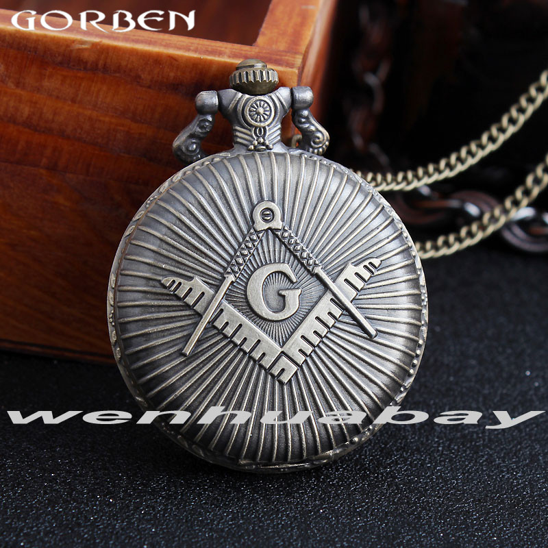 2017 New Arrival Masons Freemasonry Pocket Watch Woman Men Ancient Classic G Pattern Antique Quartz Pocket Watch Chain Necklace цена и фото