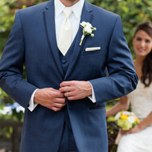 Navy Wedding Groom Tuxedos for Mens Prom Party Suit Notched Lapel 3 Piece Man Jacket Pants Vest Custom Blazer Clothing