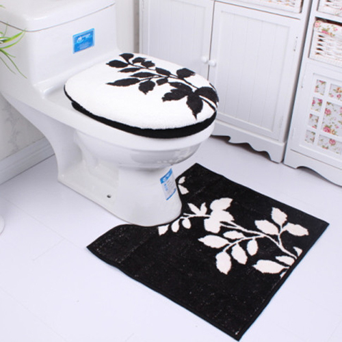 black and white toilet seat. Black White Flower Toilet Seat Cover Set Winter Warmer Washable ECO  Friendly 3pc WC Overcoat Case U Mat Free Shipping in from