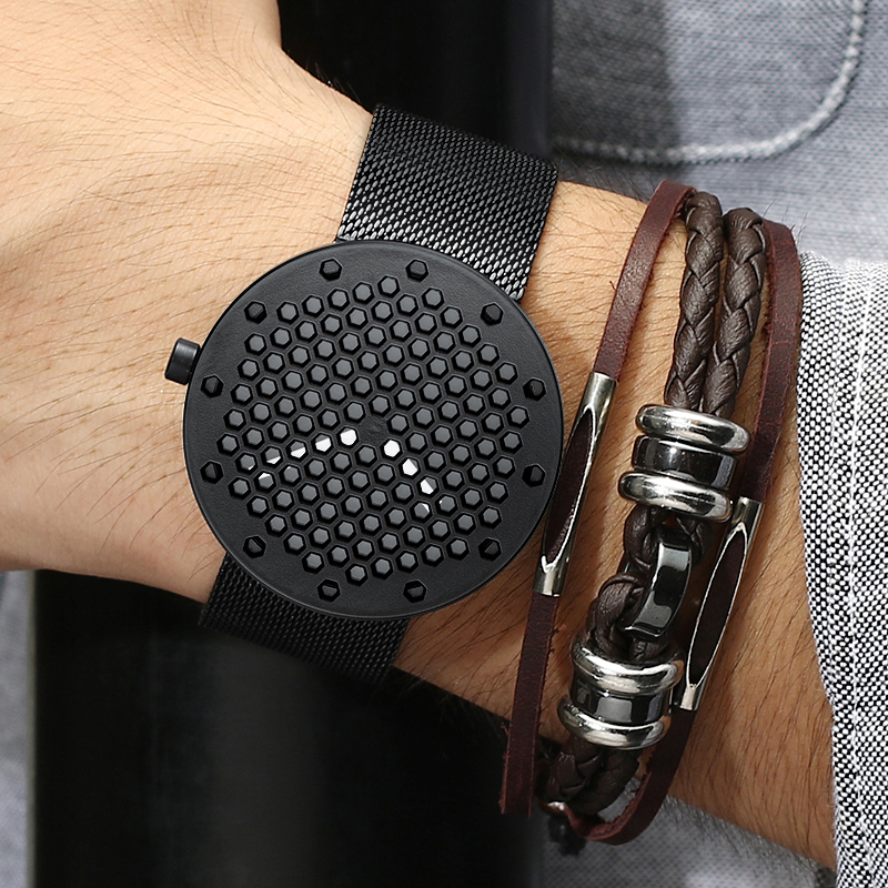 Top Brand Luxury Crrju Watch Men Cow Quartz-Watches