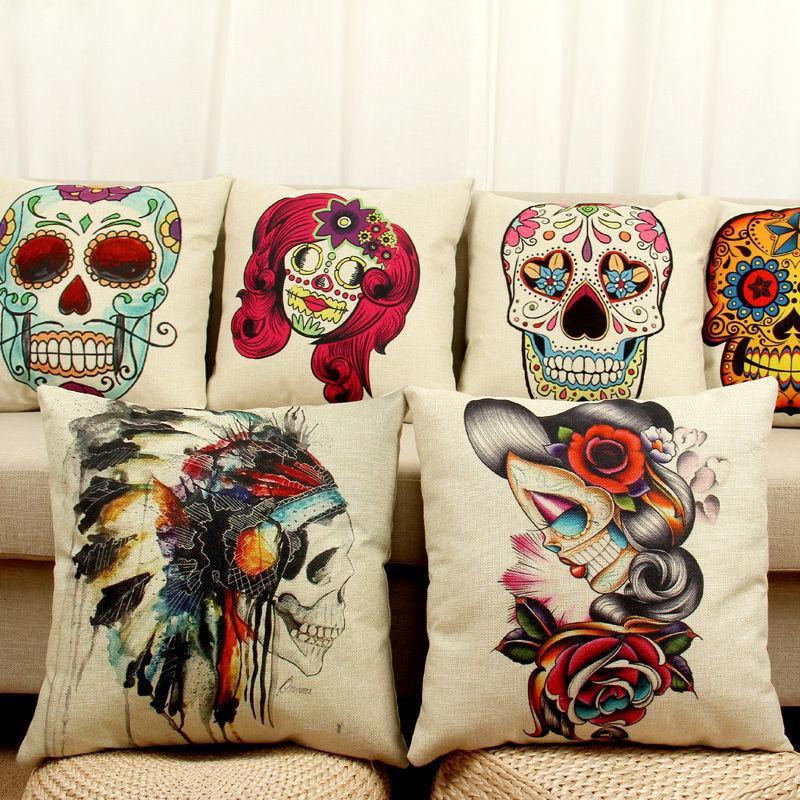 Aliexpress Com Buy Halloween Mexican Sugar Skull Cushion