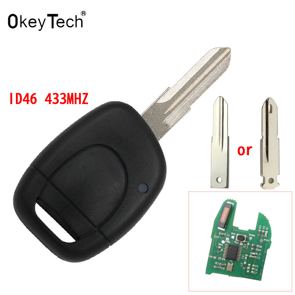 OkeyTech Remote Uncut Blade car Key auto key For RENAULT Twingo Clio Kangoo Master 1 Button 7946 ID46 433MHZ Chip Entry Fob Case free shipping replacement new uncut remote key fob 4 button 433mhz pcf7952 for renault megane 2009 2014