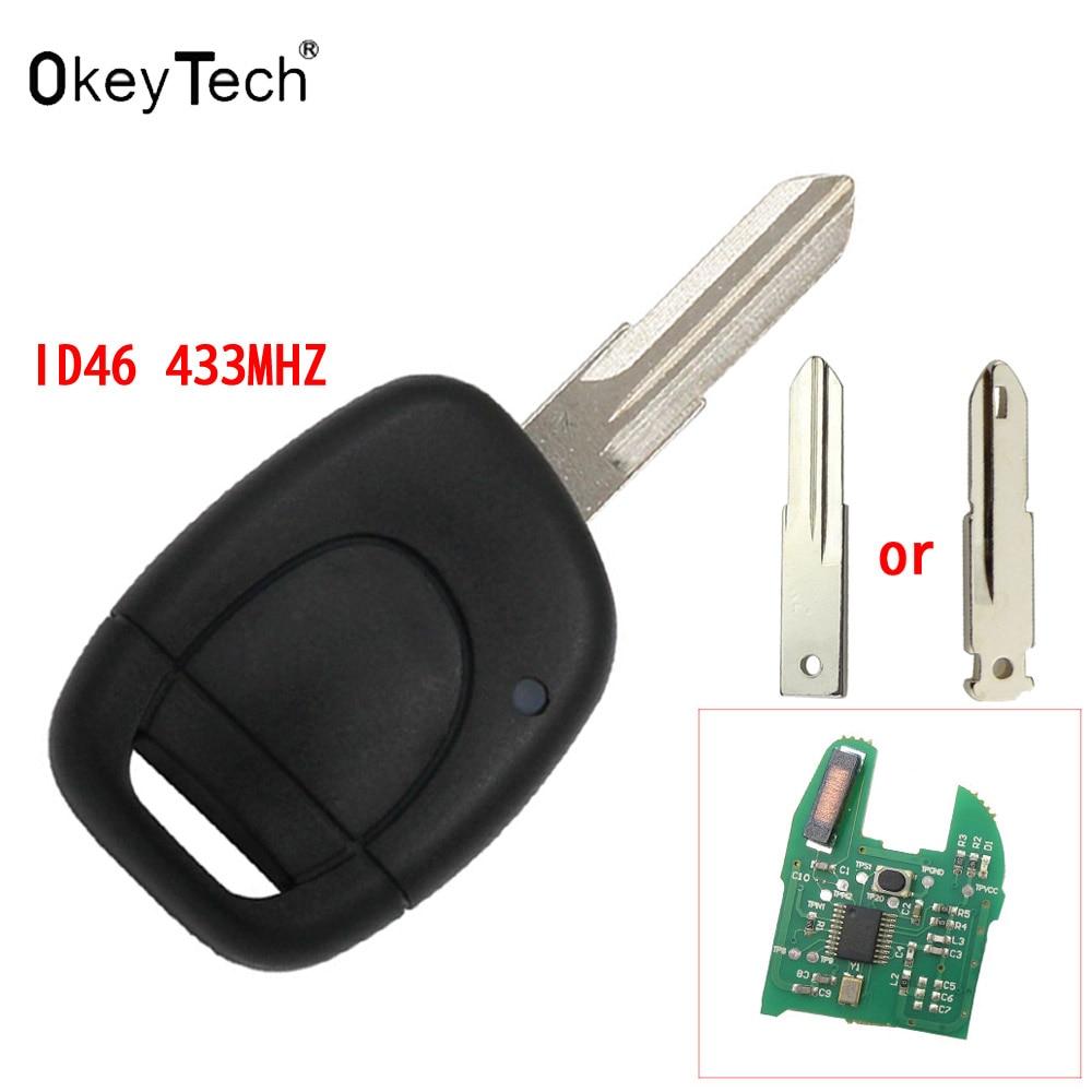 OkeyTech Remote Uncut Blade car Key auto key For RENAULT Twingo Clio Kangoo Master 1 Button 7946 ID46 433MHZ Chip Entry Fob Case