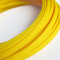 Yellow - High quality 12mm Braided PET Expandable Sleeving High Density Sheathing Plaited Cable Sleeves 1M