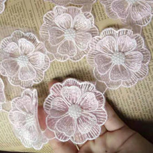 1 yard Pink Pearl Beaded Embroidered Flower Lace Edge Trim Floral Applique Patches Fabric Sewing Craft Vintage Wedding Dress pearl beaded lettuce edge crop tee