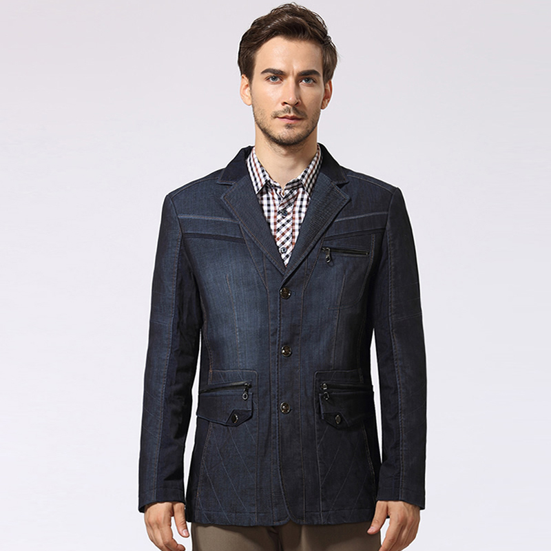 XXL Winter Mens Slim Fit Denim Jacket , Man Casual Suit Collar ...
