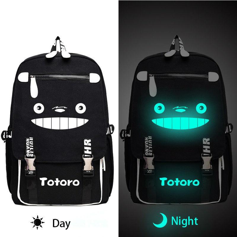 Ghibli My Neighbor Totoro Canvas Backpack Luminous Backpack Teens Boys Girls Laptop Backpack Casual Travel Bags