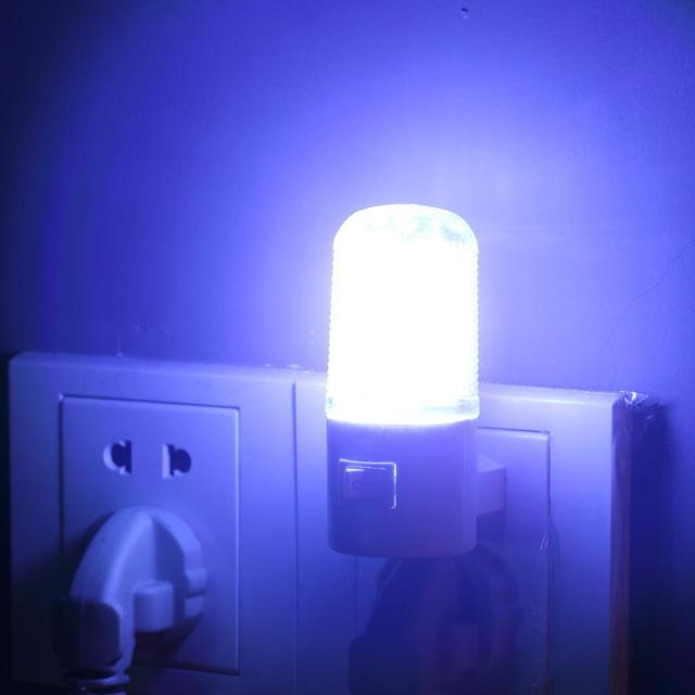 1pc Bedroom Night Light Lamp Us Plug 1w 4 Led Ac Wall Mounting Energy Saving