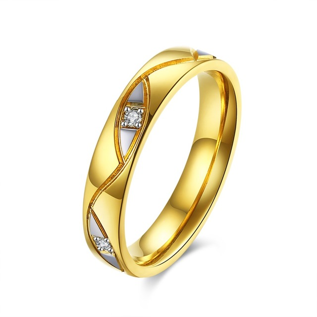 Foxfolk 2019 Fashion Wedding Alliance Rings Women Gold Color Pair