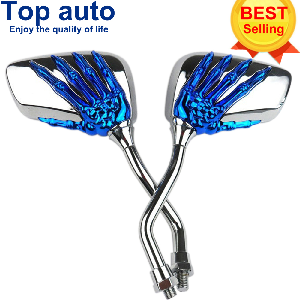 1 Pair Motorcycle Handlebar Skull Hand Pattern Ghost Claw Rearview Side Glasses Mirrors for Harley Honda Kawasaki Yamaha Suzuki