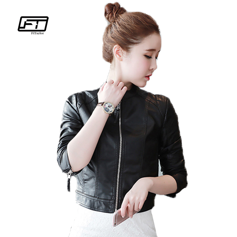 Fitaylor New Women Faux Pu   Leather   Jackets Long Sleeve Black Zippers Punk Outwear Slim Motorcycle Jacket Coats