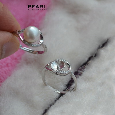 5pcs 925 Sterling Silver Gem studded Eye shape Pearl Ring Mountings Pearl Coral Cystal Gems Ring