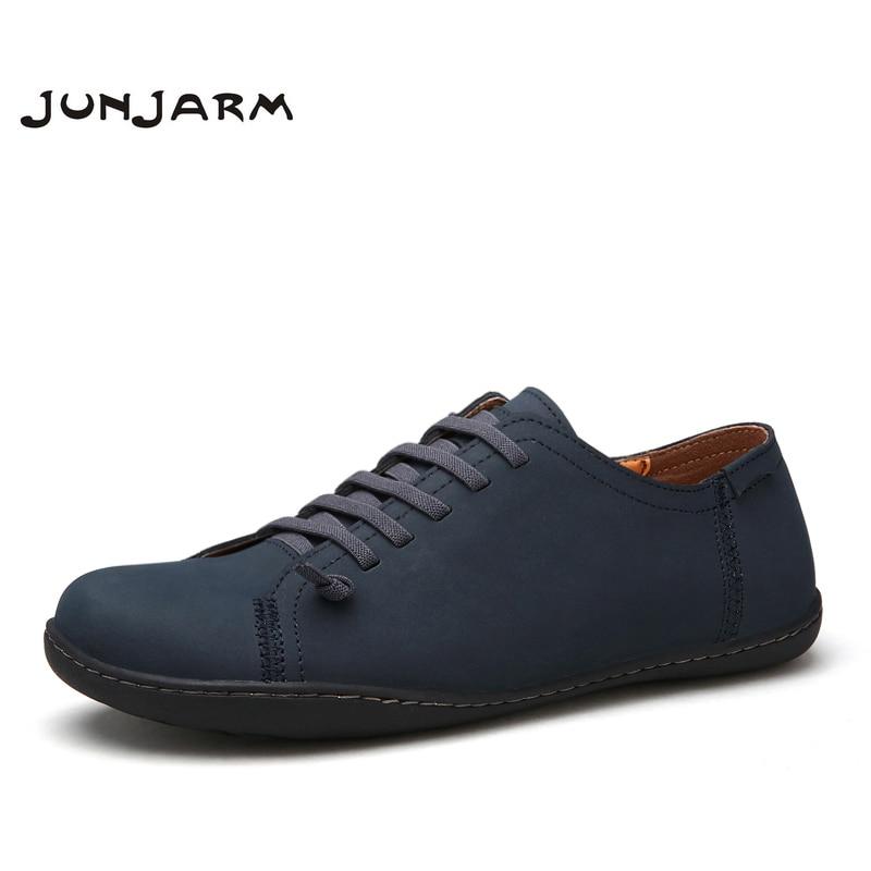 JUNJARM Handmade Men Flat Shoes Split Leather Mens Loafers Shoes Cow Split Leather Men Casual Shoes Soft Men Outdoor Shoes