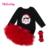Conjuntos de Roupas de Bebê dos desenhos animados Preto Macacão De Manga Longa + Vermelho irritar Saias + Headband 3 pcs Set Tutu Pettiskirt Próxima Garota roupas