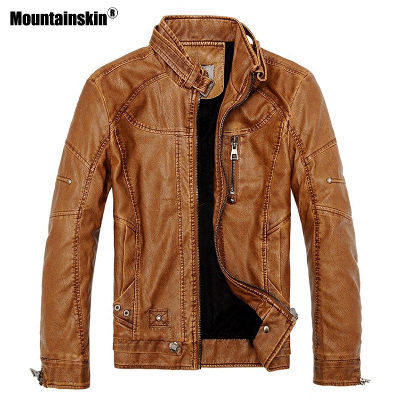 Retro Motorcycle Leather Jacket Men Fleece Autumn Winter Fashion PU Leather Thick Coat Male Plus Size
