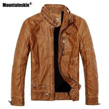 Mountainskin 2018 зима Для Мужчин's Кожаные куртки Повседневное Для мужчин Винтаж мотоцикла PU искусственной куртка мужской Moto пальто брендовая одежда SA086