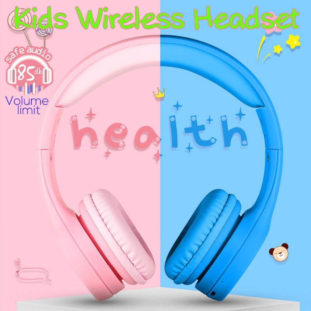Pincun E2 Portable Wireless bluetooth Kids Headphone Foldable Children Child Safely Over-Ear Earphone Headset with Mic For Gir