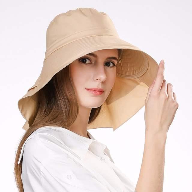 placeholder FANCET Womens Summer Beach Sun Hats Cotton Ponytail Packable  Foldable Windproof Cord Wide Brim Hat Girl 82c66ecab18