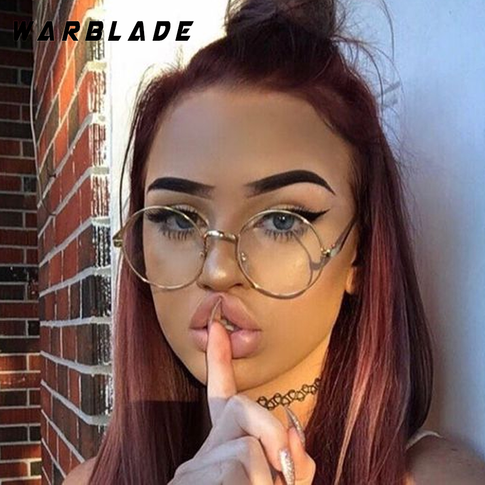 Warblade rodada óculos de nerd lente clara unisex rodada ouro das mulheres  dos homens de óculos óculos de armação de metal óptico frame óculos falsos 638db0bd29