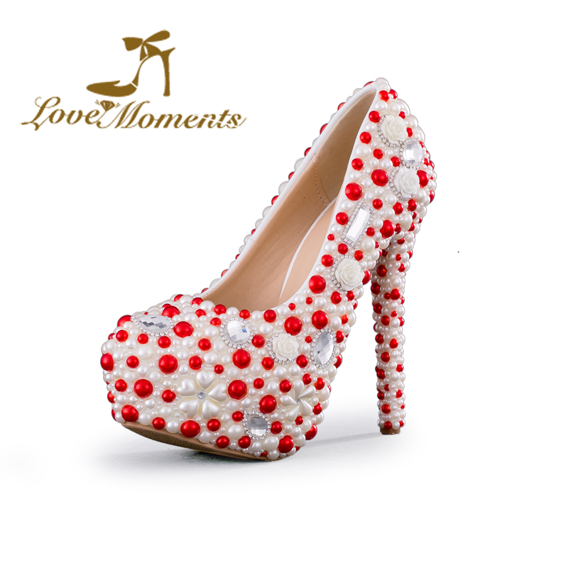 Love Moments pearl shoes woman white and red wedding shoes bride pumps high heels platform dress party shoes for women ladies love moments wedding shoes bride high heels women pumps pointed toe buckle strap handmade rhinestone crystal party dress shoes