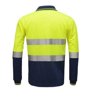 Image 3 - Hi Viz Safety Work polo shirt reflective High Visibility  Long Sleeve Polo workwear Shirt free shipping
