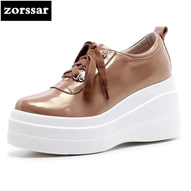 цена на {Zorssar} 2018 Genuine Leather fashion womens shoes Platform heels Leisure Lace-up Wedges High heels pumps ladies casual shoes