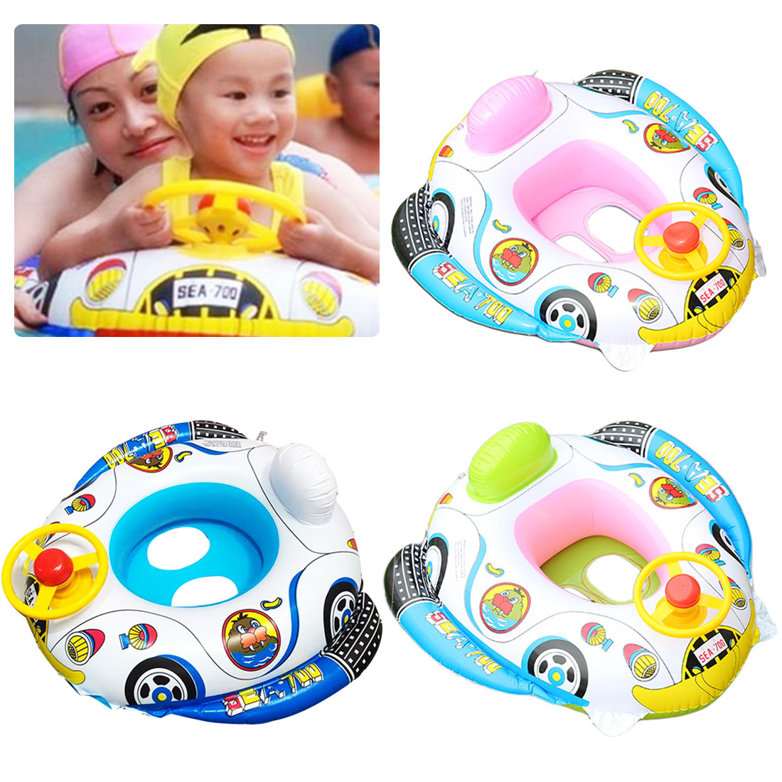 1Pc Child Swimming Ring Baby Pool Seat Toddler Float Aid Trainer Water For Kids Cartoon Designs