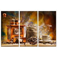 Coffee And Coffee Bean Wall Art Still Life Painting Coffee Grinder Machine Picture Kitchen Artwork Cafe Decorative Canvas Poster