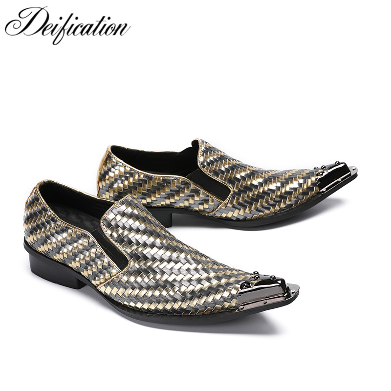 цена на Deification Calzado Hombre Geometric Slip On Business Office Shoes Men Split Leather Metal Pointy Toe Men Formal Shoes Leather