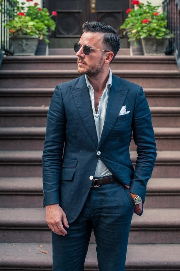 3ba2a81c8e Latest Coat Pant Designs Navy Blue Linen Mens Suit Slim Fit Blazer  Masculino Summer Beach Custom Men Tuxedo 2 Piece Terno W5