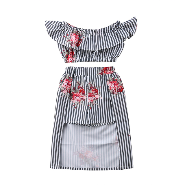 2a9e9adcb34913 2018 Summer New Fashion Black Striped Girls Off shoulder Floral T shirt  Pants Peacock Skirt Clothes Personallity Outfits-in Clothing Sets from  Mother   Kids ...