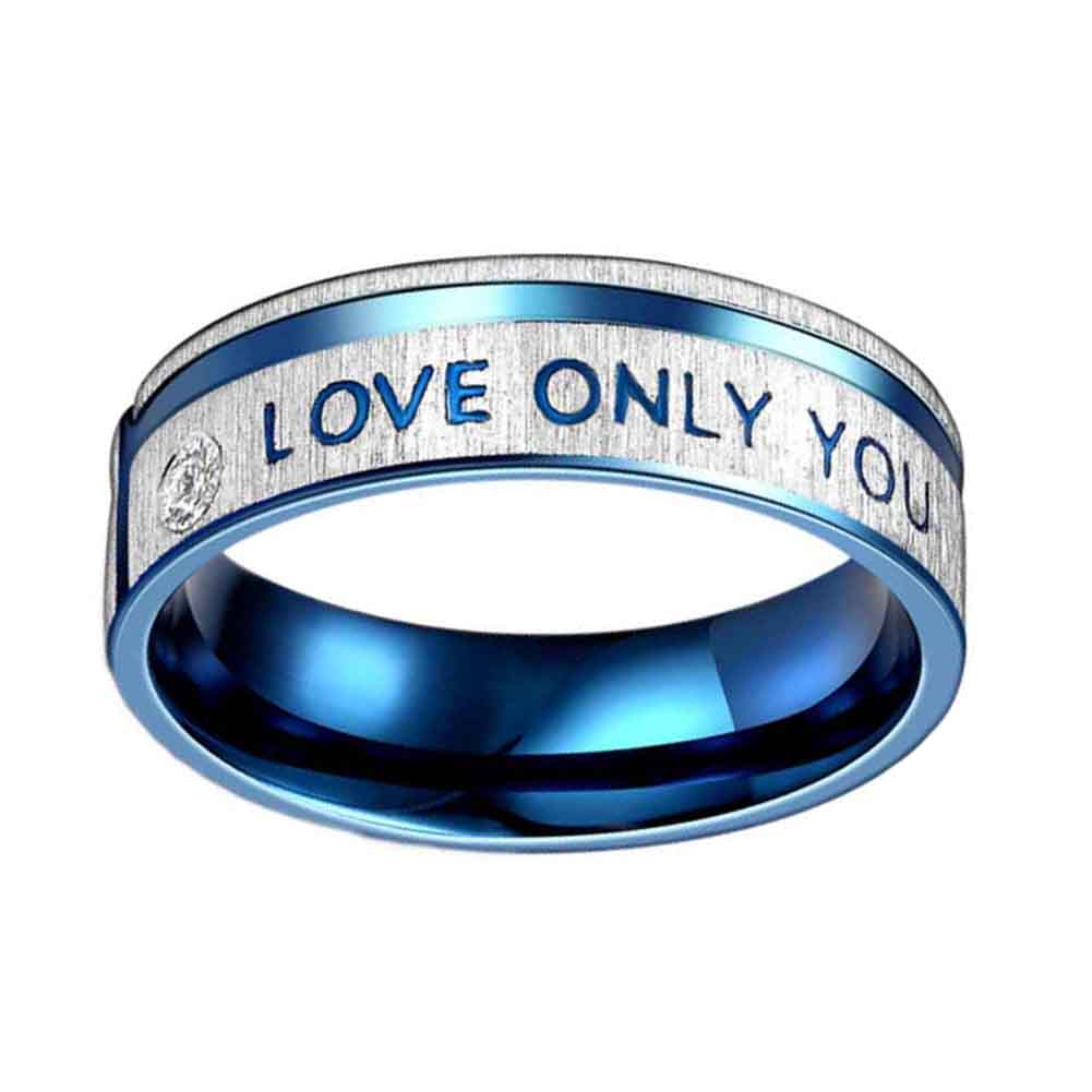 Fashion Jewelry 316L Stainless Steel Simple Circle Love Only You Couple Rings Wedding Ri ...