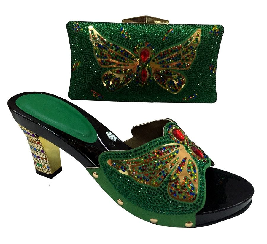 Wonderful African Shoes Matching Bag Sets With Rhinestones Decoration Sandal Lemon Green Italian ...