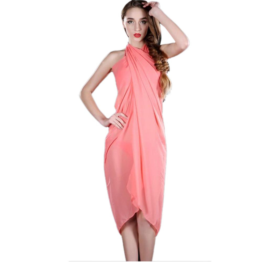 a basso prezzo bec26 00c10 US $0.76 20% OFF|Women Beach Cover Up Chiffon dress Bikini Swimwear Coverup  Wrap dress Swimsuit Gonna da spiaggia *20-in Dresses from Women's Clothing  ...