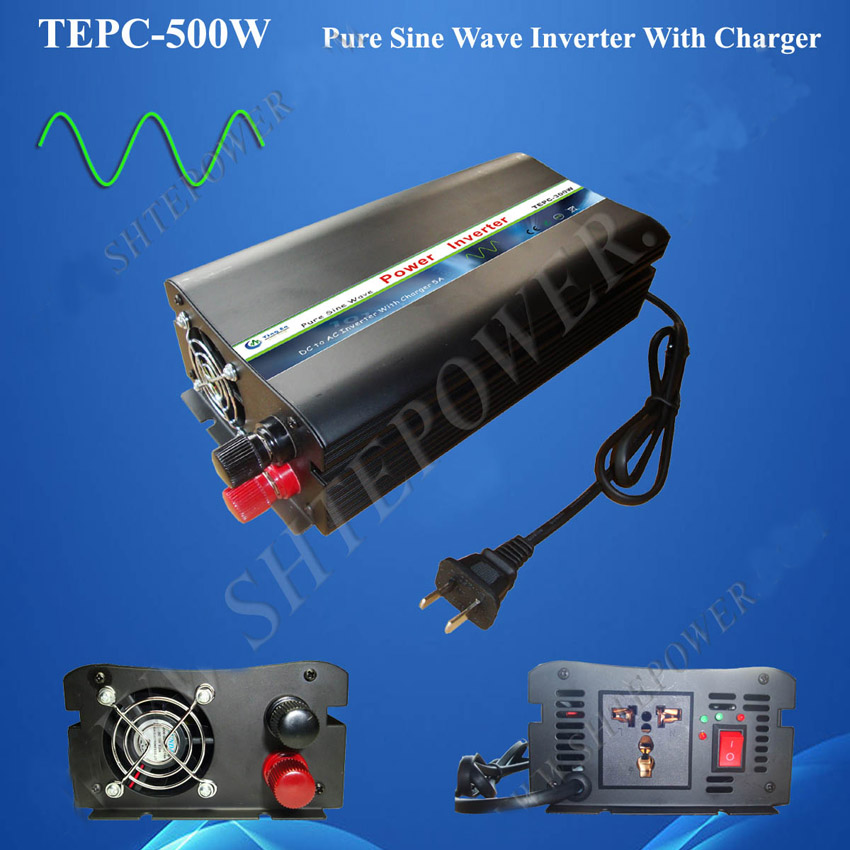 Free shipping!DC input to ac output 500w pure sine wave off grid tie inverter with charger 50HZ 60HZ
