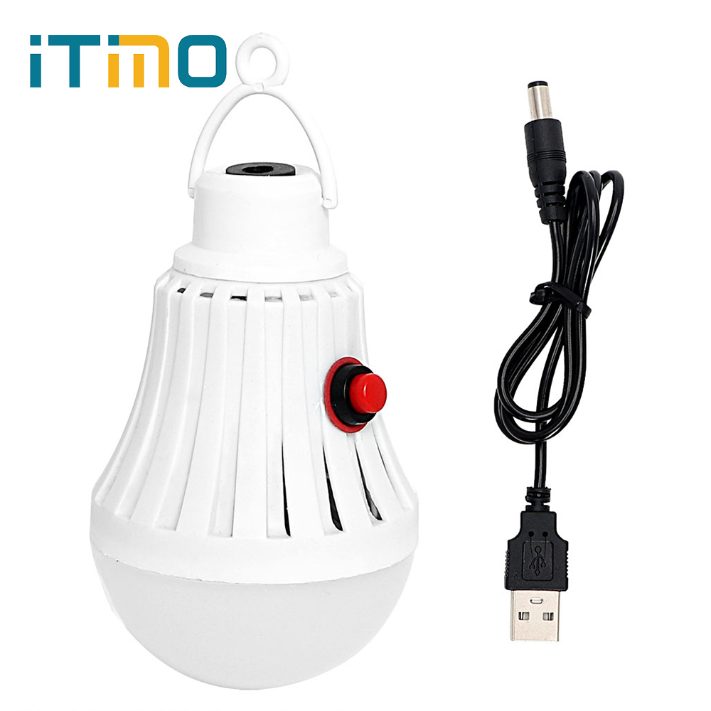 ITimo Hanging Camping Lamp Emergency Light USB Rechargeable LED Bulb White Tent Light Po ...