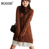 Rugod Women Sweater Turtleneck Pullovers 2017 Autumn Winter Sweet Female Knitted Sweater Long Sleeve Solid Thicken