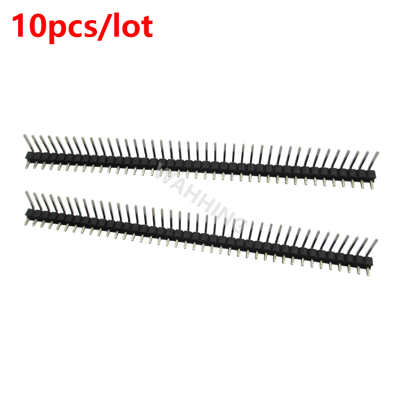 10pcs 40 Pin Single Row 90 Degree male Connector 1*40Pin 2.54mm Pitch Header Socket Strip for BreadBoard HY1231*10 new original 10pcs 1x40 pin 2 54 round male pin header connector