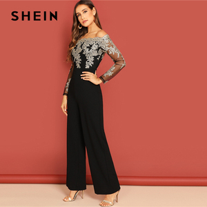 Image 3 - SHEIN Black Elegant Embroidery Sheer Mesh Off Shoulder Workwear Long Sleeve Straight Leg Jumpsuit Autumn Fashion Women Jumpsuits